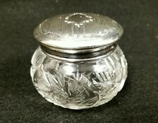 Antique English Sterling Silver & Cut Glass Dresser Trinket Box Birmingham