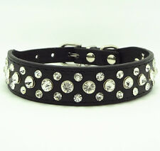Bling Rhinestone Crystal Diamond Pet Dog Cat Puppy Leather Collar Black size S