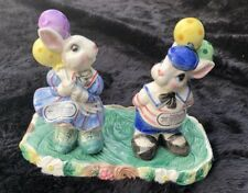 1995 Hand Painted Fitz and Floyd Bunny Salt and Pepper Shakers with Stand