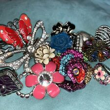 Huge Costume Jewelry Ring Bling Rhinestone Statement Flower Butterfly Ring Lot