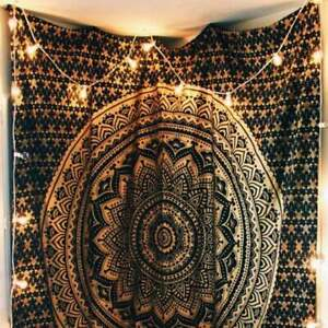 """Hippie Wall Hanging Black Gold 84*54"""" Tapestry Bedspread Bohemian Throw Ethnic"""