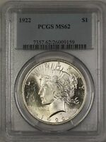 1922 Peace Silver Dollar $1 Coin PCGS MS-62 DGH (B)