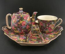 ROYAL WINTON HAZEL BLACK CHINTZ Breakfast Tea Set Vintage English China 1930s