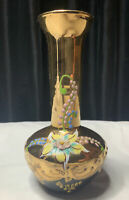 RARE VINTAGE MURANO BLACK ART GLASS VASE HAND PAINTED WITH ENAMEL AND GOLD