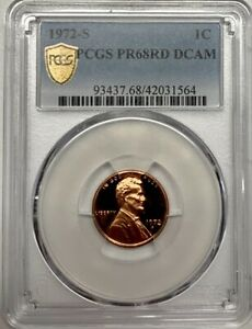 1972 S Lincoln Penny PCGS PR68 RED DCAM Proof Registry Coin 1C Deep Cameo