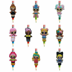 10 Pcs Girls LOL Dolls Pencil Topper Straw Charm Accessories Party Favor