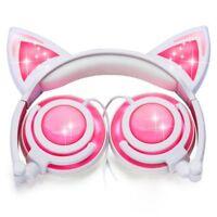 Cat Ear Kids Headphones Rechargeable&LED Light Up Foldable Over Ear Headpho Q2W3