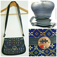 Faux Leather Shoulder Adjustable Strap Clasp Closure Tapestry Aztec Bag Handbag