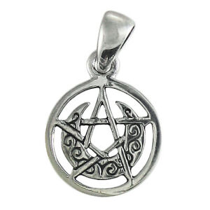 Sterling Silver Tiny Crescent Moon Pentacle Wicca  Circle Pendant Dryad Design
