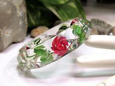 Vintage Reverse Carved Rose Faceted Clear Lucite Bangle Bracelet  - MINT!!!