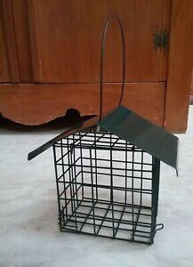 Hanging Fat Cake Block Holder Garden Bird Feeder with rain cover