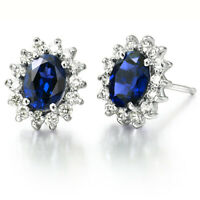 Deep Blue Sapphire Stud Earrings Genuine 925 Sterling Silver Wedding Jewelry