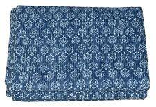 Indigo Blue Twin Size Kantha Quilt Bedspread Blanket Bedding Throw Reversible