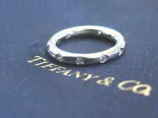 Tiffany & Co Platinum Bezet Diamond Band Ring .16Ct Size 4