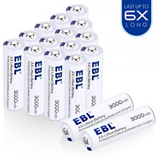 EBL 16 Counts AA Lithium Batteries 1.5V 3000mAh - Up to 6X Long-lasting - Batter