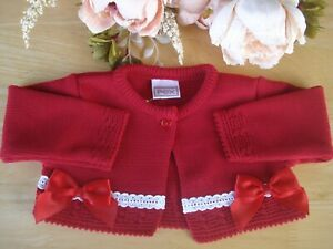 Baby Girl Red Fine Knit Bolero Cardigan Broderie Anglaise Bow Detail 3-6-9-12-18