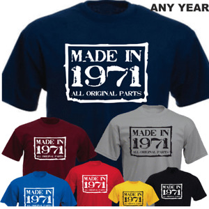 Made in 50th Birthday All Original Parts 1971 New T-shirt Present Gift