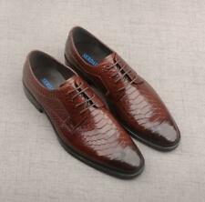 Men's Round Toe Lace Up Crocodile Print Leather Shoes Business Party Dress N67