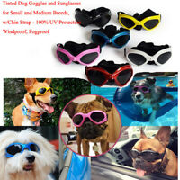 Hot Tinted Dog Goggles and Sunglasses for Small and Medium Breeds w/Chin Strap