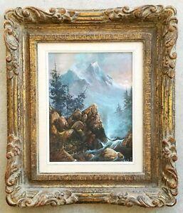 """TED BLAYLOCK """"Rocky Mountain River Rapids"""" (1974) Landscape Vintage Framed Art"""