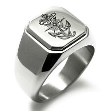 Stainless Steel Nautical Dial & Anchor Mens Square Biker Style Signet Ring