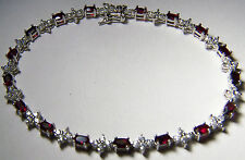 7.01 CARAT GARNET AND WHITE TOPAZ STERLING SILVER BRACELET SIZE 8.5 INCHES
