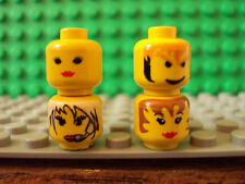 Lego Minifig ~ Mixed Lot Of 4 Female Heads Faces Girl Parts Town City Space #iop