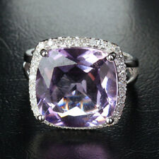 14mm VS Amethyst 14K White Gold Pave .26ct Diamonds Halo Engagement Wedding Ring