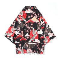 Men 3/4 Sleeve Open Front Kimono Cardigan Top Shirt Japanese Asian Costume Blue