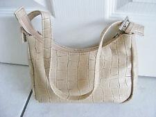 Beige & Brown Moc croc animal print shoulder clutch bag handbag