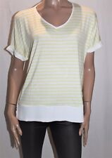 Katies Brand Yellow White Striped Short Sleeve Top Size S BNWT #TH95