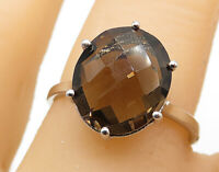 925 Sterling Silver - Faceted Smoky Quartz Oval Cocktail Ring Sz 7 - R7908