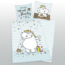 Pummeleinhorn Bettwäsche süß und flauschig 135 x 200 + 80 x 80 cm