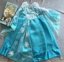 Disney Frozen Elsa Snow Queen Deluxe Costume/ Dress & Wig Set Sz 7 / 8