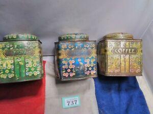Vintage Kitchen Tin X 3 Tea Coffee Sugar