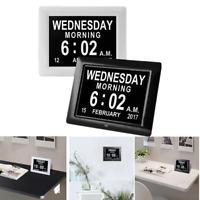 "8"" LED Digital Day Clock Wall 6-Alarm Time Date Week Calendar Dementia Display"