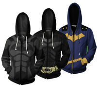 Classic Batman Superhero 3D Hoodie Sweatshirt Cosplay Hooded Zip Coat Jacket