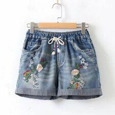 Flower Embroidered Design Shorts Drawstring Elastic Waist Fashionable Summer Fit