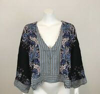 Free People Mix n Match Blouse Womens M Black Combo Wide 3/4 Sleeve New