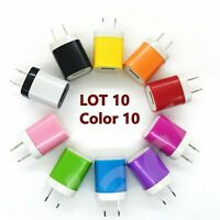 10 Color 1A USB Power Adapter AC Home Wall Charger US Plug for iPhone Samsung