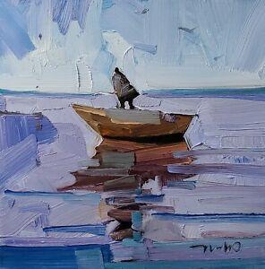 JOSE TRUJILLO Oil Painting IMPRESSIONISM CONTEMPORARY Seascape Boat Fishing