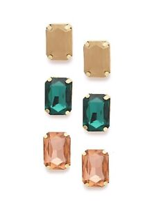 Zaveri Pearls Women Set of 3 Gold-Plated Stone-Studded Square Stud Free shipping