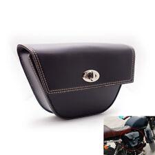 Black PU Leather Motorcycle Saddle Sissybar Side Bag Luggage Tool w/ Knob Buckle
