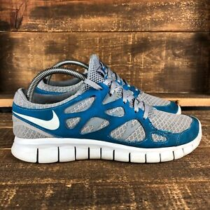 Nike Mens Free Run 2 443815-044 Lace Up Gray Blue Running Athletic Shoes Size 8