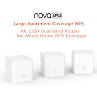 3pcs Tenda Nova MW3 Home AC1200 Wireless Router Wifi Repeater Mesh Wi-Fi System