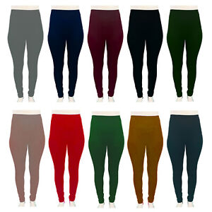 Ladies Leggings Thermal Plain Warm Thick Winter Fleece High Waist