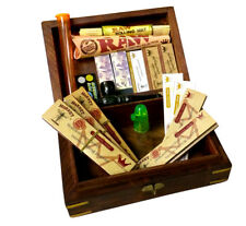 Christmas Gift IdeaWooden Box RAW Rolling Papers Filter Tips Mat Cone Snuff Bull