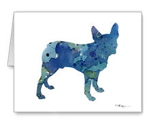 Blue Boston Terrier Note Cards With Envelopes