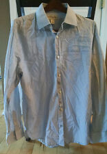 BANANA REPUBLIC Men's 17-17.5 Blue Striped Long Sleeve Shirt