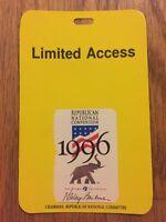 1996 Republican National Convention Limited Access Credential Senator Bob Dole